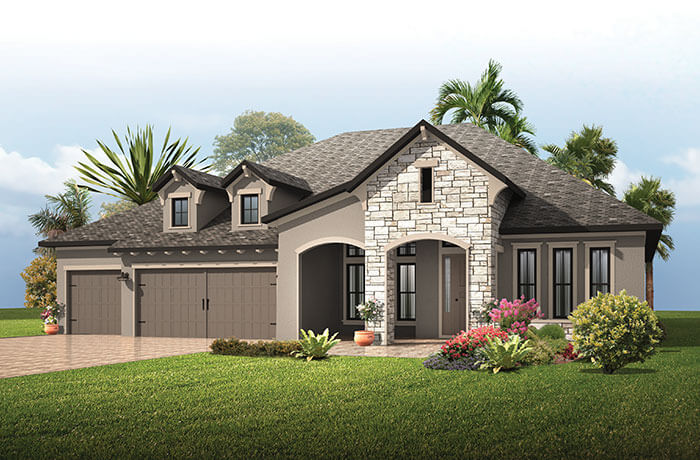 St. Lucia BEXLEY - European Cottage Elevation - 3,336 sqft, 4 Bedroom, 3 Bathroom - Cardel Homes Tampa