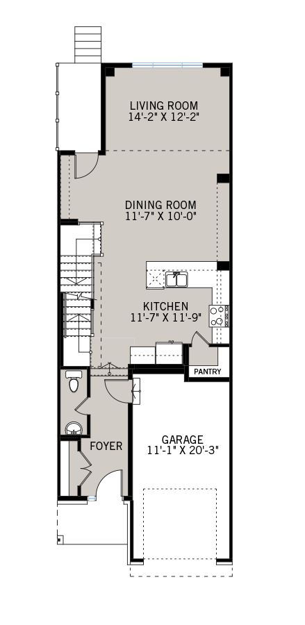 Main floor floorplan for the Balsa townhome which includes the living and dining rooms, kitchen, foyer and garage