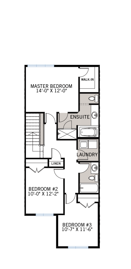 Upper floor floorplan for the Balsa townhome which includes the master ensuite bedroom, 2 bedrooms and laundry room