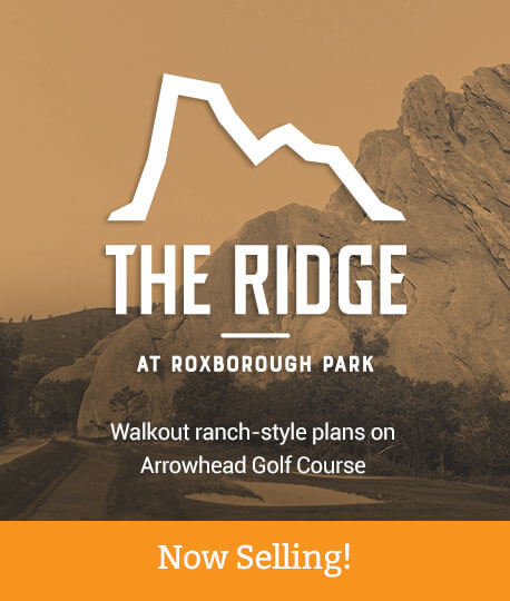 The Ridge at Roxborough Park Walkout ranch-style plans on Arrowhead Golf Course Now Selling
