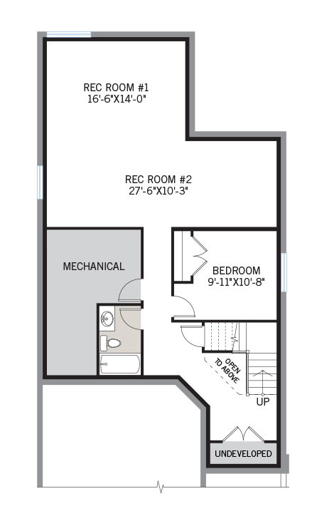 Basement floorplan for the Berkshire 2 located at 104 Westphalian Avenue, Kanata in Blackstone, Ottawa by Cardel Homes. The developed basement contains two rec rooms, mechanical room and a bedroom.