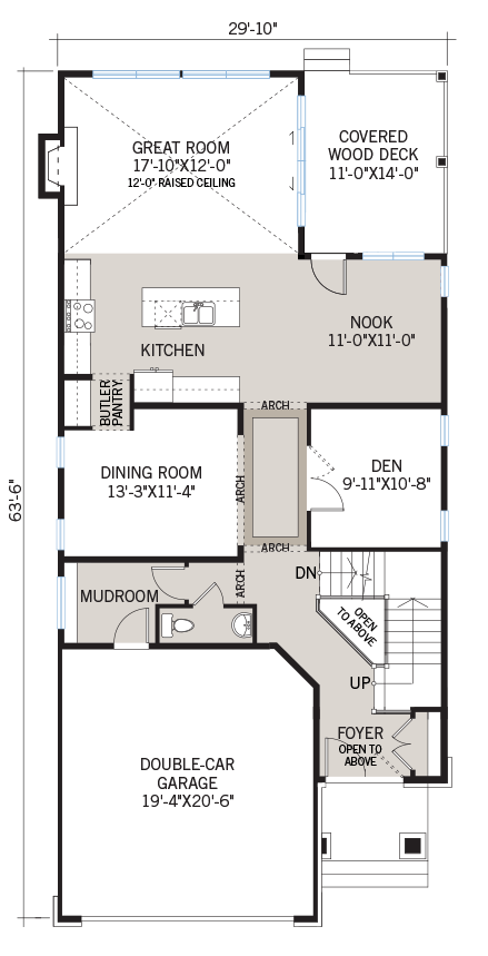 Main floor floorplan for the Berkshire 2 located at 104 Westphalian Avenue, Kanata in Blackstone, Ottawa by Cardel Homes. The main floor contains a great room, covered wood deck, kitchen, nook, dining room, den, mudroom and double-car garage.