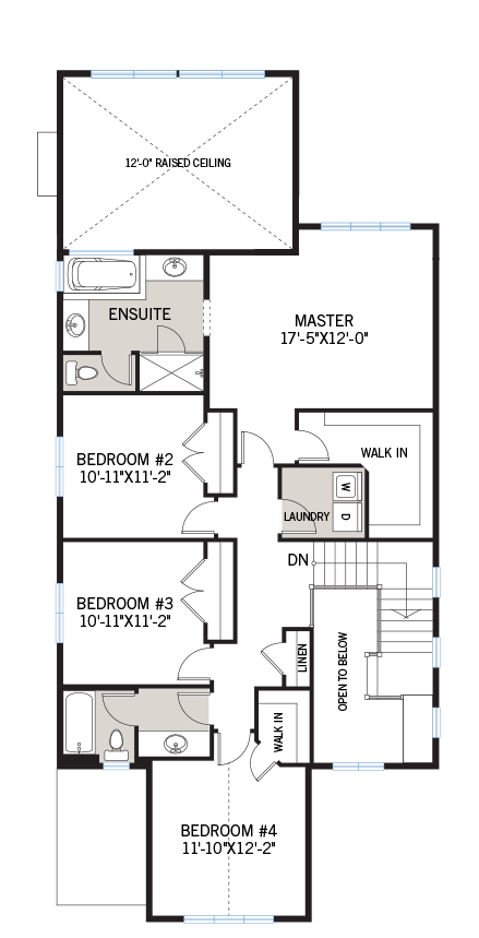 Upper floor floorplan for the Berkshire 2 located at 104 Westphalian Avenue, Kanata in Blackstone, Ottawa by Cardel Homes. The upper floor contains four bedrooms including one master room with an ensuite.