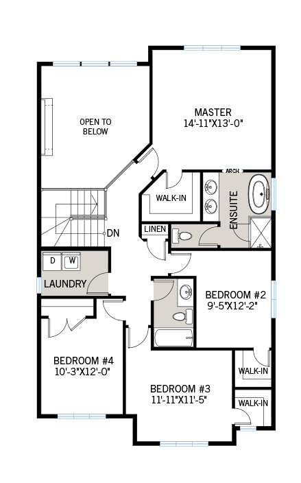 Upper floor floorplan for the 2,291 square foot Devonshire 2 located at 106 Westphalian, Kanata in Blackstone, Ottawa by Cardel Homes. The upper floor contains a laundry room and four bedrooms including one master room with an ensuite.