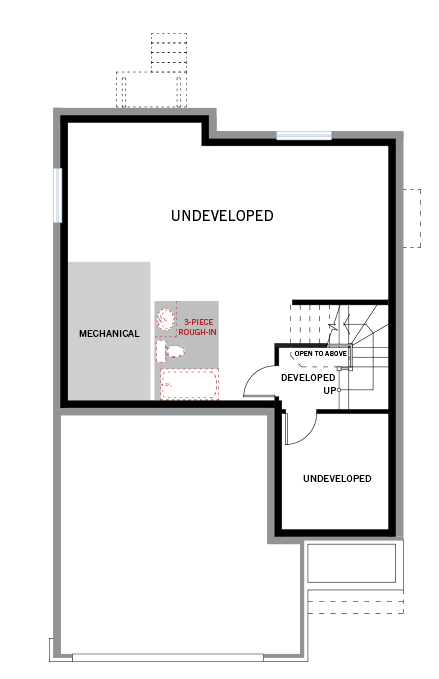 Basement floor floorplan for the 2,073 square foot Montage located at 108 Westphalian, Kanata in Blackstone, Ottawa by Cardel Homes. The undeveloped basement contains the mechanical room
