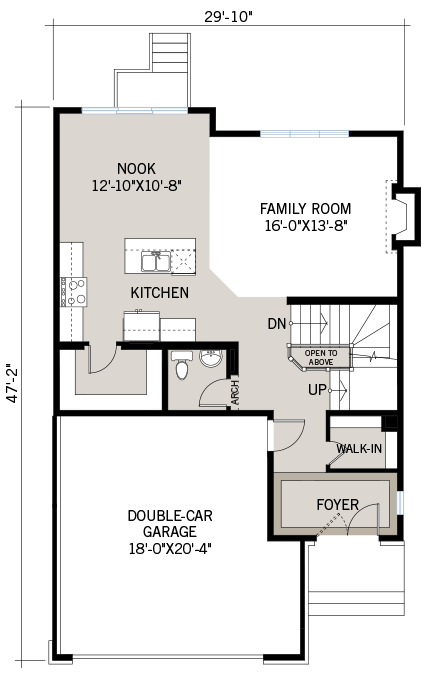 Main floor floorplan for the 2,073 square foot Montage located at 108 Westphalian, Kanata in Blackstone, Ottawa by Cardel Homes. The main floor contains a family room, foyer, kitchen, nook and double-car garage.