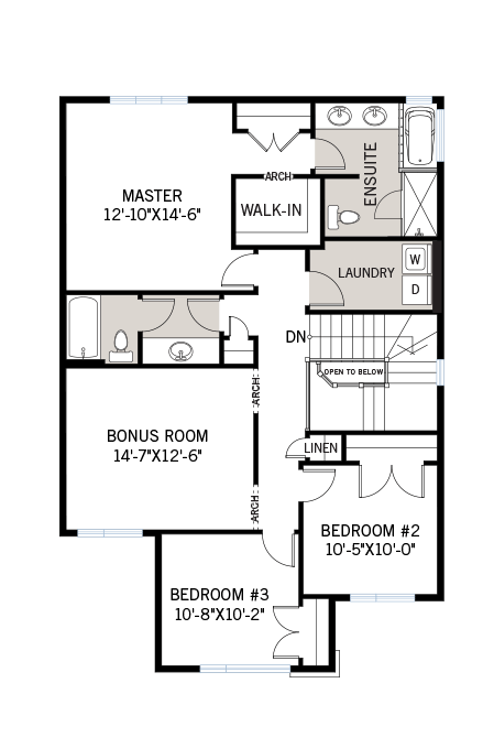Upper floor floorplan for the 2,073 square foot Montage located at 108 Westphalian, Kanata in Blackstone, Ottawa by Cardel Homes. The upper floor contains a bonus room, laundry room and three bedrooms including a master room which contains a walk-in closet and ensuite