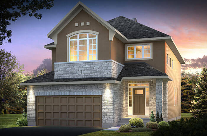 The Berkshire 2 is a 3,687 square foot single family model home located at 104 Westphalian Avenue, Kanata in Blackstone, Ottawa by Cardel Homes. This picture is a rendering of the outside of the home.