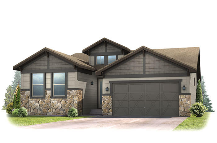 Pebble Beach - Craftsman Front Elevation - 2,057 sqft, 2 Bedroom, 2.5 Bathroom - Cardel Homes Denver