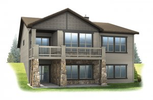 Pebble Beach - Craftsman Rear Elevation - 2,057 sqft, 2 Bedroom, 2.5 Bathroom - Cardel Homes Denver