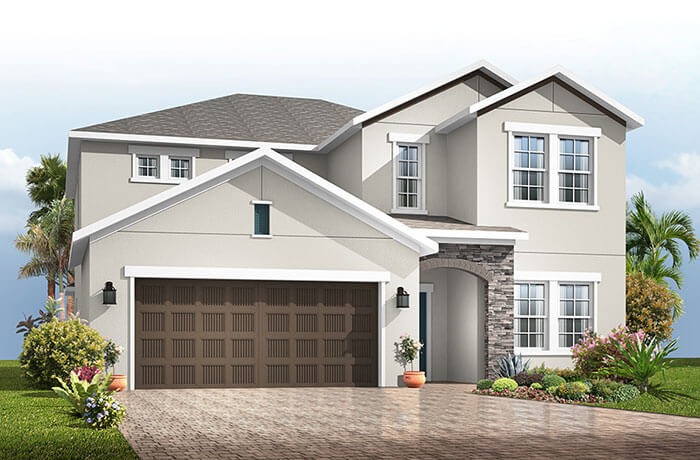 Winford - Provincial Chateau Elevation - 3,132 sqft, 5 Bedroom, 3.5-4.5 Bathroom - Cardel Homes Tampa