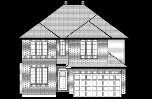 DURHAM-BS-PS - A2 Traditional Elevation - 2,294 sqft, 4 Bedroom, 2.5 Bathroom - Cardel Homes Ottawa