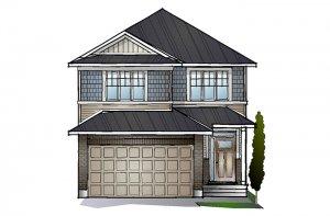 EW-COLE A1 CANADIANA Elevation - 2,051 sqft, 3 - 4 Bedroom, 2.5 Bathroom - Cardel Homes Ottawa