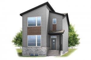 Alder 2 - F1 Elevation - 1,408 sqft, 3 Bedroom, 2.5 Bathroom - Cardel Homes Calgary