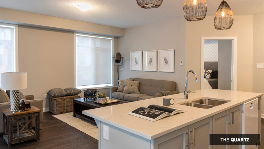 Second image of kitchen in the Quartz unit of KoL condo in Blackstone, Ottawa by Cardel Homes
