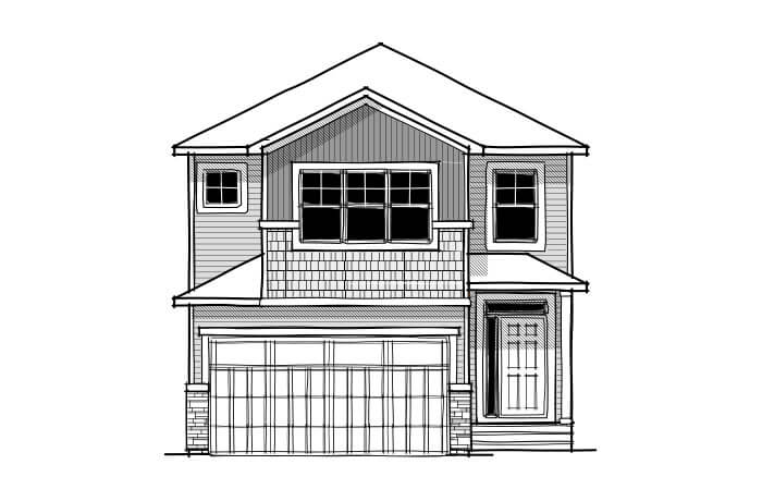 Alloy - CB-Craftsman C1 Elevation - 2,366 sqft, 3 Bedroom, 2.5 Bathroom - Cardel Homes Calgary
