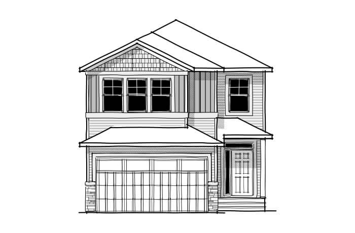 Aster - CB-Craftsman C1 Elevation - 2,600 sqft, 4 Bedroom, 2.5 Bathroom - Cardel Homes Calgary