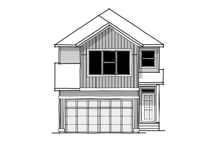 Sabal 2 - CB-Farmhouse C3 Elevation - 2,313 sqft, 4 Bedroom, 2.5 Bathroom - Cardel Homes Calgary
