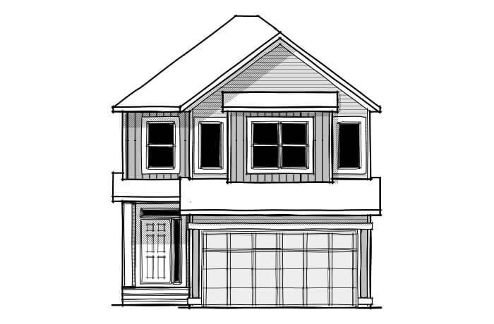 Senna - CB-Farmhouse C3 Elevation - 2,315 sqft, 3 Bedroom, 2.5 Bathroom - Cardel Homes Calgary