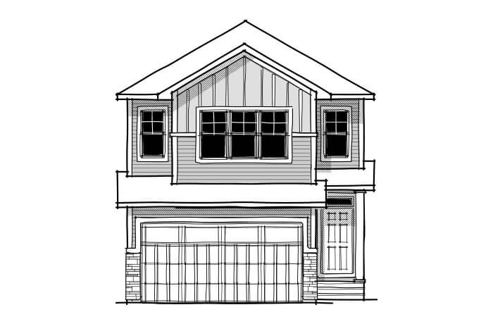 Sereno - CB-Craftsman C1 Elevation - 2,385 sqft, 4 Bedroom, 2.5 Bathroom - Cardel Homes Calgary
