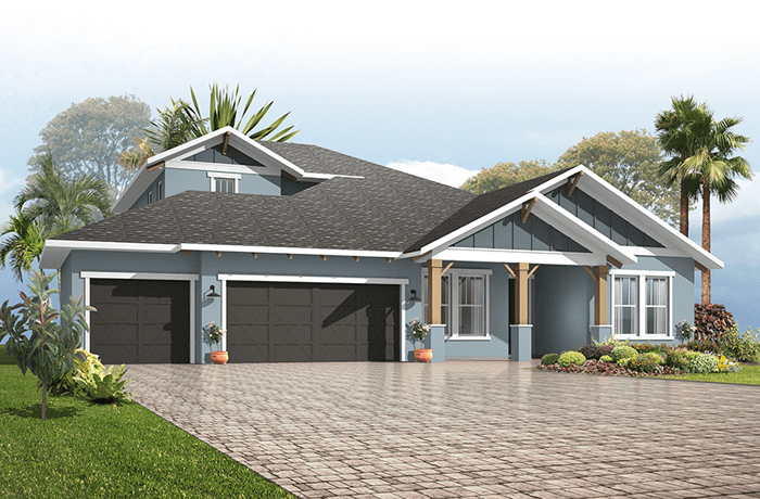Barrett - Craftsman Elevation - 2,507 - 3,120 sqft, 3-5 Bedroom, 2-4 Bathroom - Cardel Homes Tampa