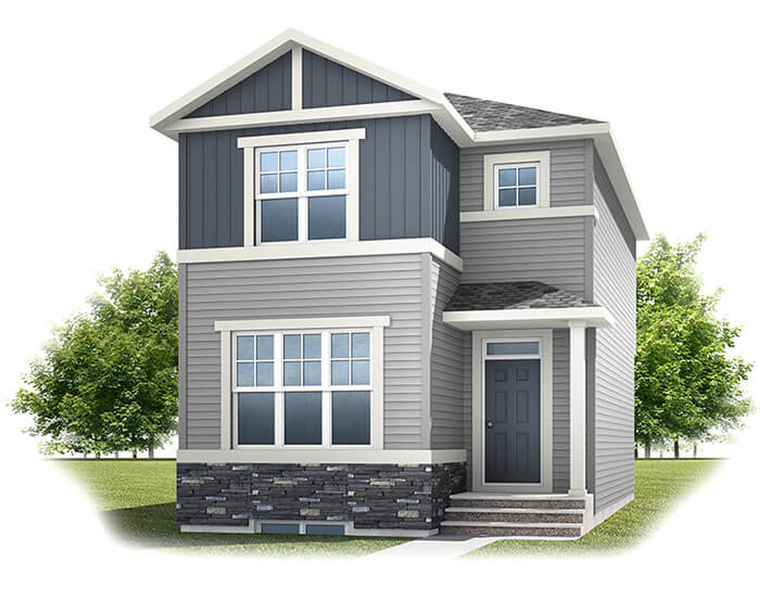 Cornerbrook-Alder2C1Craftsman Elevation - 1,408 sqft, 3 Bedroom, 2.5 Bathroom - Cardel Homes Calgary