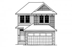 Birch - SP - Shingle S1 Elevation - 1,806 sqft, 3 Bedroom, 2.5 Bathroom - Cardel Homes Calgary