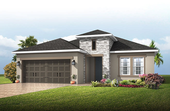 Southampton 2 - Provincial Chateau Elevation - 2,500 sqft, 4 - 5 Bedroom, 3 Bathroom - Cardel Homes Tampa