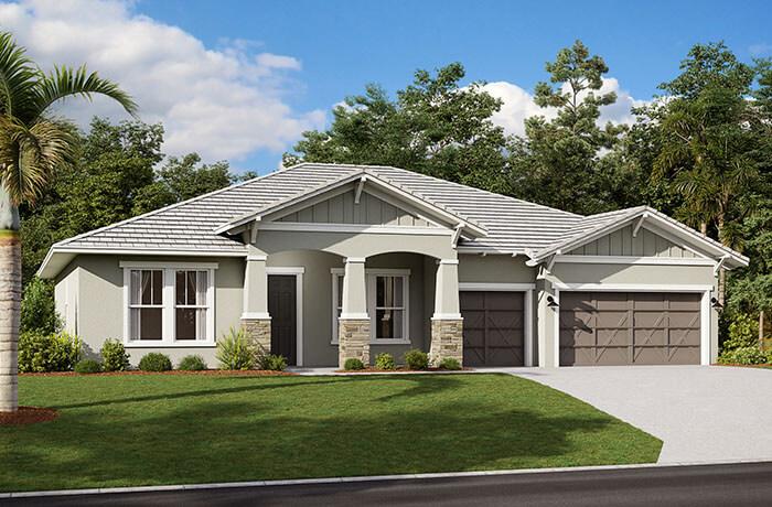 Wesley 2.0-Craftsman Elevation - 2,830 - 3,228 sqft, 4 Bedroom, 3-4 Bathroom - Cardel Homes Tampa