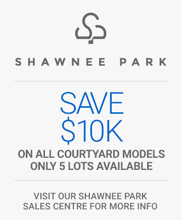 Save 10,000 dollars on all courtyard models in Shawnee Park. Only 5 lots available