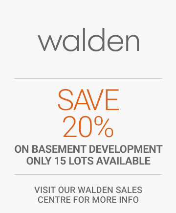 Save 20% on basement development on a single family home in Walden. Only 15 lots available