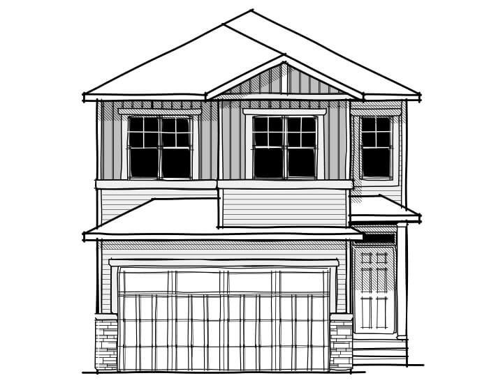 Rohan 1 - Craftsman C1 Elevation - 2,202 sqft, 4 Bedroom, 2.5 Bathroom - Cardel Homes Calgary