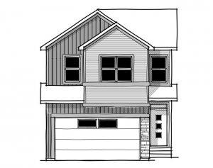 Rohan 1 - Urban Farmhouse A3 Elevation - 2,202 sqft, 4 Bedroom, 2.5 Bathroom - Cardel Homes Calgary