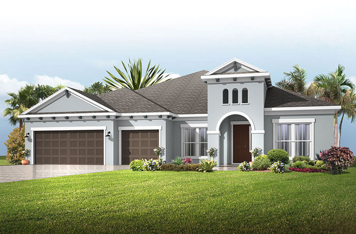 Henley - Mediterranean Elevation - 3,000 - 3,939 sqft, 4-5 Bedroom, 3-4 Bathroom - Cardel Homes Tampa
