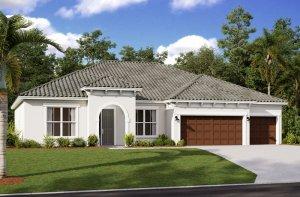Wesley ENCL - Mediterranean Elevation - 3,070 - 3,228 sqft, 4 Bedroom, 4 Bathroom - Cardel Homes Tampa