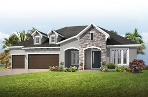 Savannah ENCL - European Cottage Elevation - 3,308 sqft, 4 Bedroom, 3 Bathroom - Cardel Homes Tampa