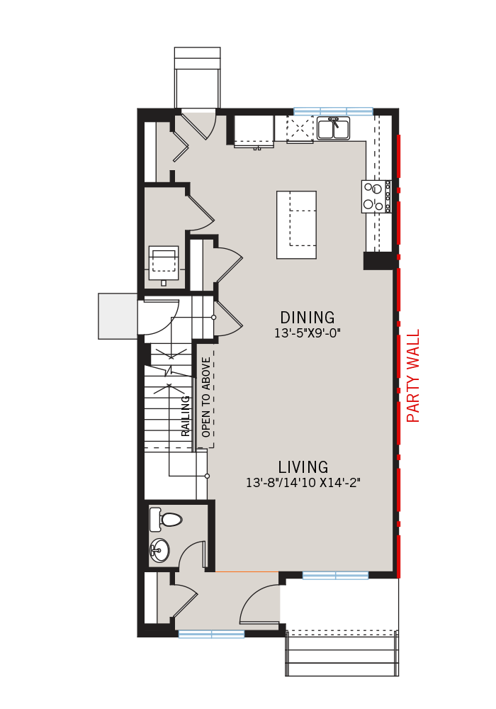 The Indigo 1 home main floor quick possession in Savanna, located at 9032 52 Street NE Calgary Built By Cardel Homes