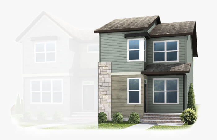 New Calgary Paired Home Quick Possession Indigo 2 in Savanna, located at 9028 52 Street NE Built By Cardel Homes Calgary