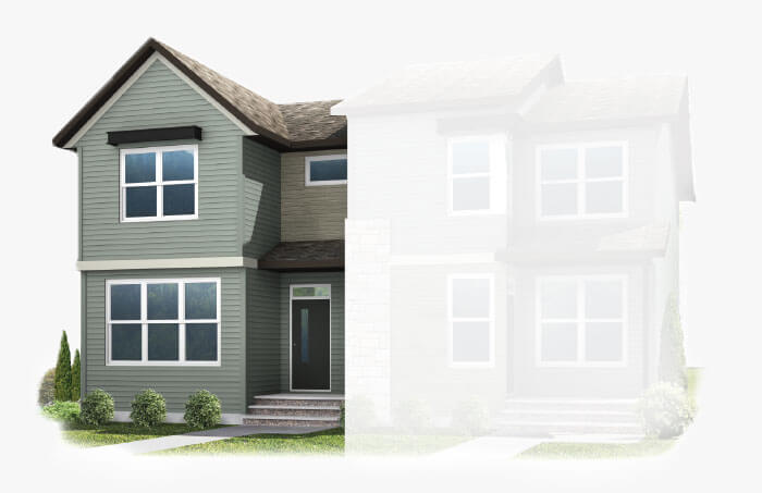 New Calgary Paired Home Quick Possession Indigo 1 in Savanna, located at 9032 52 Street NE Built By Cardel Homes Calgary
