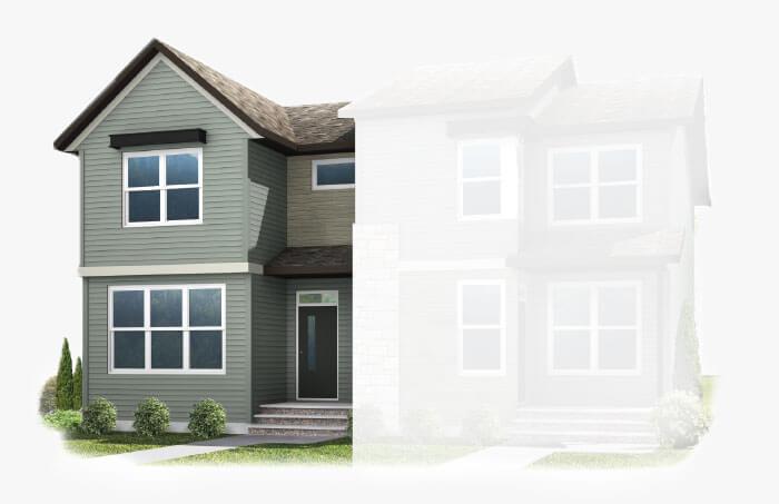 New Calgary Single Family Home Quick Possession Indigo 1 in Savanna, located at 9032 52 Street NE Built By Cardel Homes Calgary