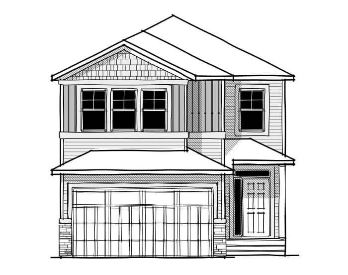 Aster 1 - CB-Craftsman C1 Elevation - 2,609 sqft, 4 Bedroom, 2.5 Bathroom - Cardel Homes Calgary