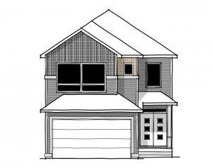 Aster 1 - Urban Farmhouse A2 Elevation - 2,609 sqft, 4 Bedroom, 2.5 Bathroom - Cardel Homes Calgary