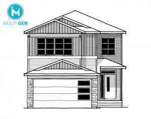 Aster 1 - Urban Craftsman A1 Elevation - 2,609 sqft, 4 Bedroom, 2.5 Bathroom - Cardel Homes Calgary