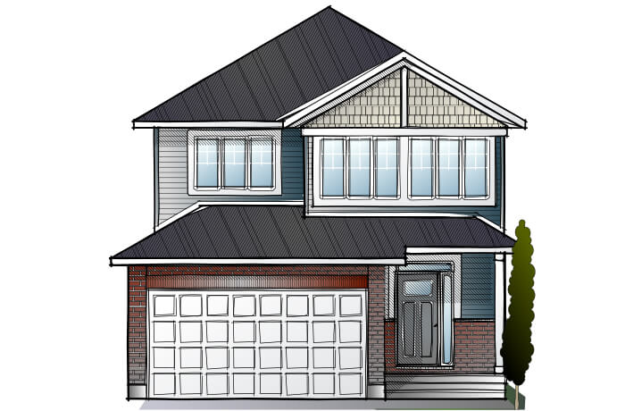 LOWELL - PS - Canadiana A1 Elevation - 2,132 sqft, 3 - 4 Bedroom, 2.5 Bathroom - Cardel Homes Ottawa