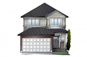 EW-BAXTER A1 CANADIANA Elevation - 1,703 sqft, 3 - 4 Bedroom, 2.5 Bathroom - Cardel Homes Ottawa