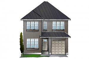 EW-LANGSTON A2 TRADITIONAL Elevation - 1,836 sqft, 3 Bedroom, 2.5 Bathroom - Cardel Homes Ottawa
