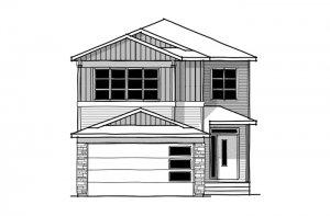 SAV-MG-ASTER-1-A1 Elevation - 2,609 sqft, 4 Bedroom, 2.5 Bathroom - Cardel Homes Calgary