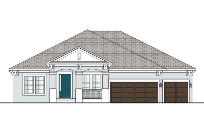 Wesley MB - Coastal A1 Elevation - 2,830 - 3,228 sqft, 4 Bedroom, 3-4 Bathroom - Cardel Homes Tampa