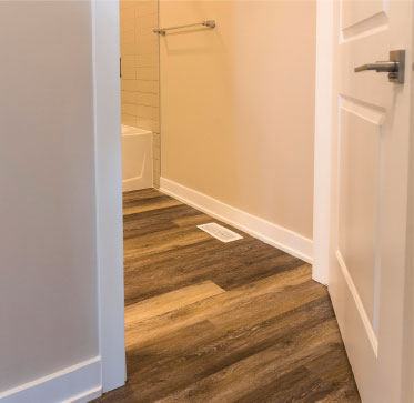 No-transition luxury vinyl plank flooring provides incredible durability