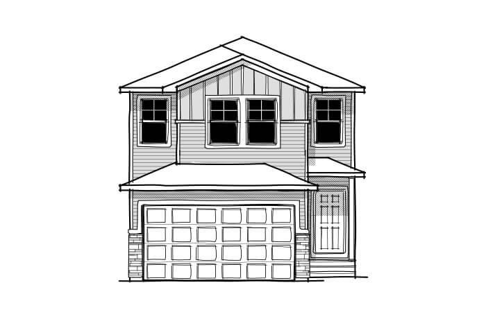 EVO 1 - Craftsman C1 Elevation - 2,014 sqft, 3 Bedroom, 2.5 Bathroom - Cardel Homes Calgary